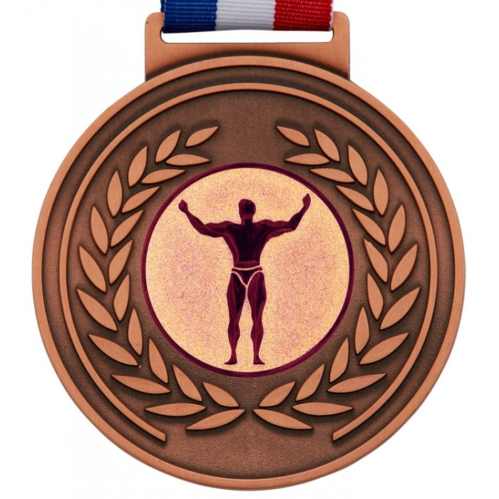 100MM BODYBUILDING MEDAL & RIBBON -  OLYMPIC SIZED - BRONZE