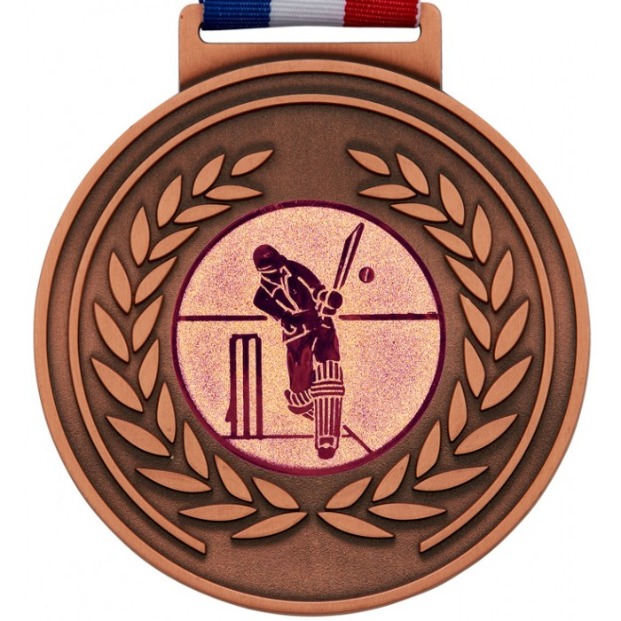 BRONZE THICK OLYMPIC CRICKET MEDAL & RIBBON - 100MM X 6MM