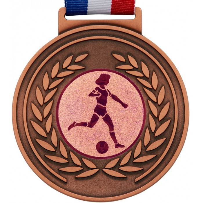 100MM X 6MM THICK OLYMPIC FEMALE FOOTBALL MEDAL & RIBBON - BRONZE