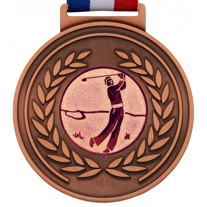 OLYMPIC MEDAL & RIBBON - 100MM x 6MM THICK-  BRONZE