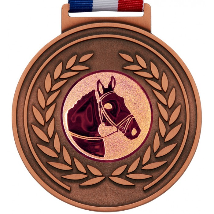 100MM X 6MM THICK OLYMPIC MEDAL & RIBBON - HORSERIDING BRONZE