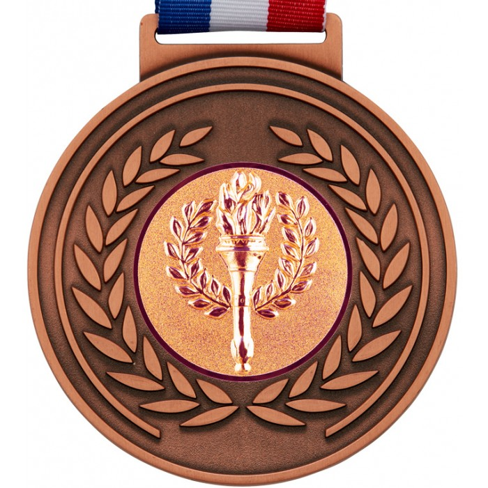100MM MEDAL & RIBBON - BRONZE OLYMPIC MEDAL