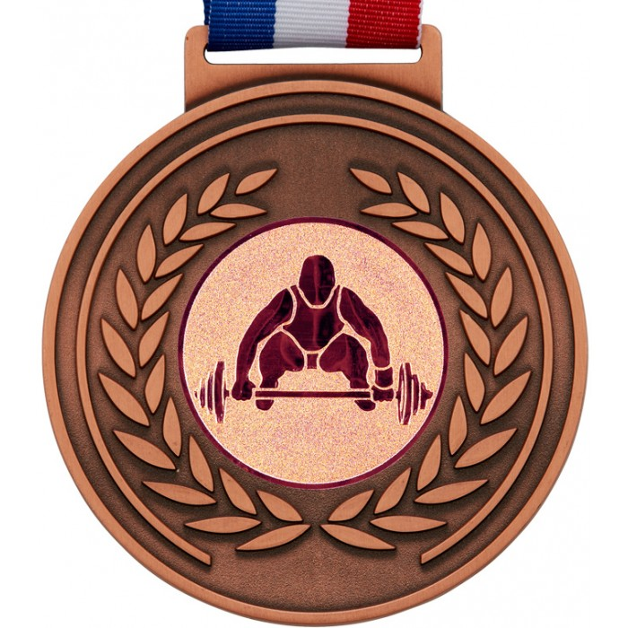 100MM WEIGHTLIFTING MEDAL & RIBBON - OLYMPIC SIZED - BRONZE