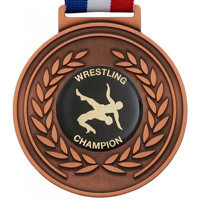 100MM WRESTLING MEDAL & RIBBON - OLYMPIC SIZED BRONZE