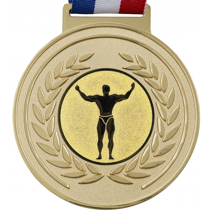 100MM BODYBUILDING MEDAL & RIBBON -  OLYMPIC SIZED - GOLD