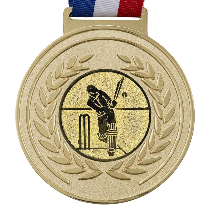 GOLD THICK OLYMPIC CRICKET MEDAL & RIBBON - 100MM X 6MM