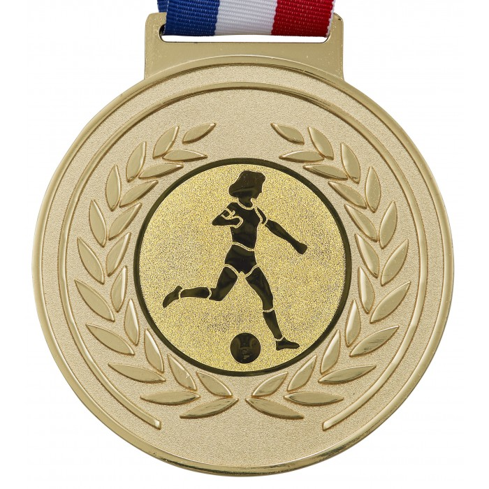100MM X 6MM THICK OLYMPIC FEMALE FOOTBALL MEDAL & RIBBON -  GOLD