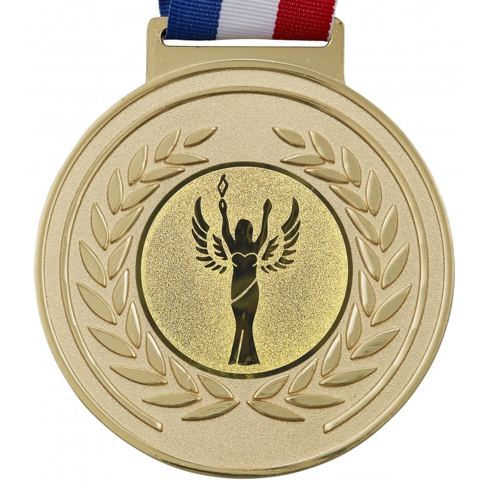 100MM X 6MM THICK OLYMPIC MEDAL & RIBBON - VICTORY STATUE GOLD