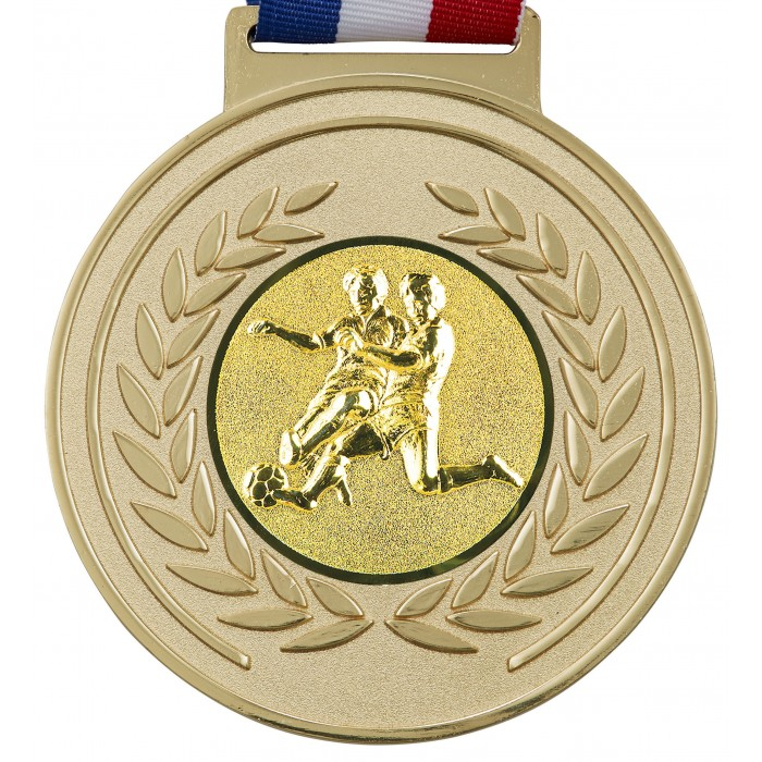 100MM X 6MM THICK OLYMPIC MEDAL & RIBBON -  MALE FOOTBALL GOLD