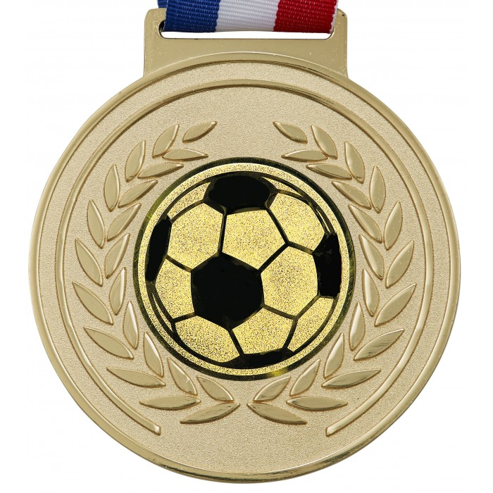 100MM X 6MM THICK OLYMPIC FOOTBALL MEDAL & RIBBON - GOLD