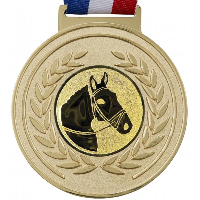 100MM X 6MM THICK OLYMPIC MEDAL & RIBBON - HORSERIDING GOLD