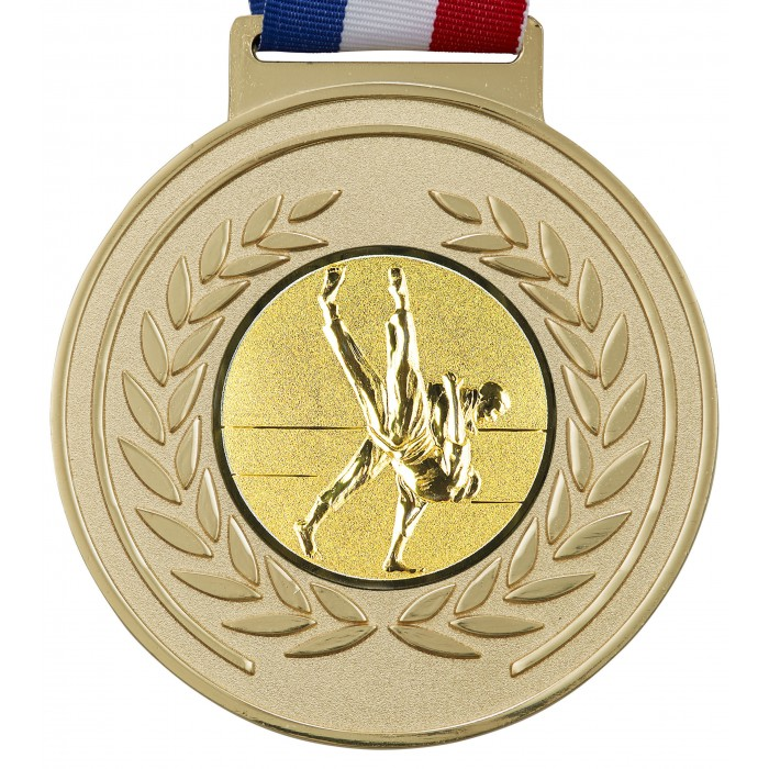 100MM JUDO MEDAL & RIBBON - OLYMPIC SIZED - GOLD