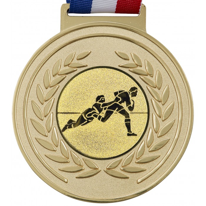 100MM X 6MM THICK OLYMPIC MEDAL & RIBBON -  RUGBY GOLD