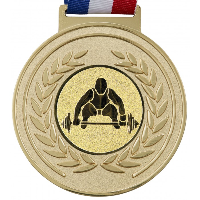 100MM WEIGHTLIFTING MEDAL & RIBBON - OLYMPIC SIZED - GOLD