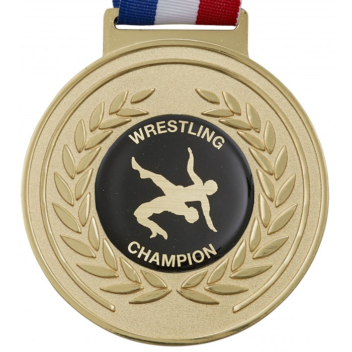 100MM WRESTLING MEDAL & RIBBON - OLYMPIC SIZED - GOLD