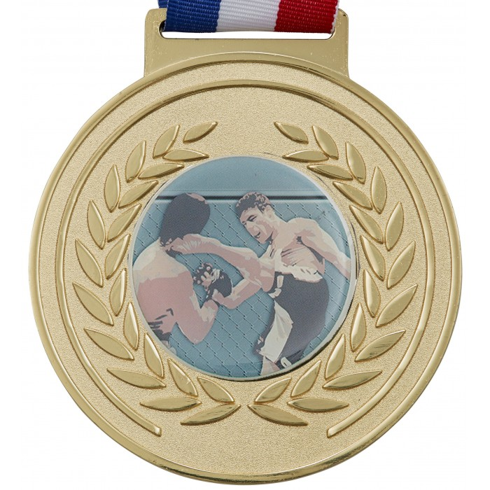 100MM MMA MEDAL & RIBBON - GOLD OLYMPIC MEDAL