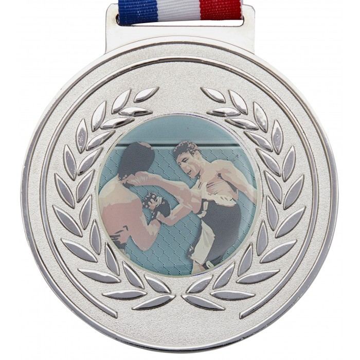 100MM MMA MEDAL & RIBBON - SILVER OLYMPIC MEDAL