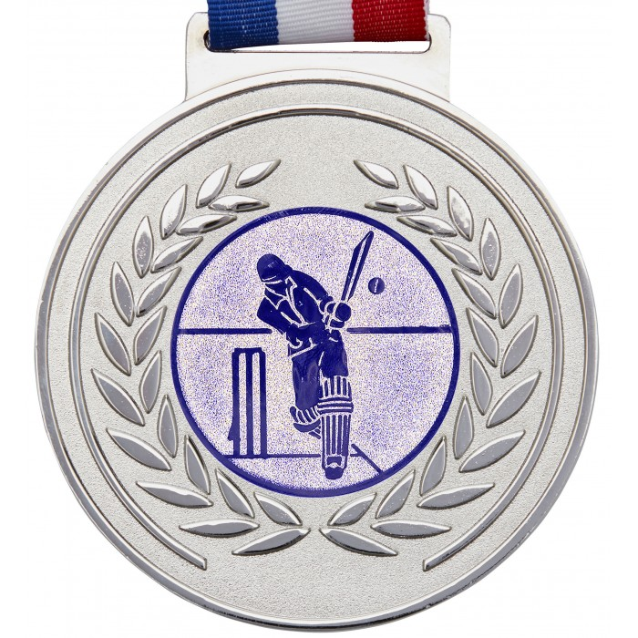 SILVER THICK OLYMPIC CRICKET MEDAL & RIBBON - 100MM X 6MM