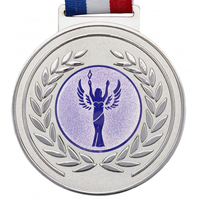 OLYMPIC MEDAL & RIBBON -  100MM X 6MM - SILVER