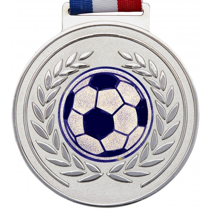 100MM X 6MM THICK OLYMPIC FOOTBALL MEDAL & RIBBON - SILVER