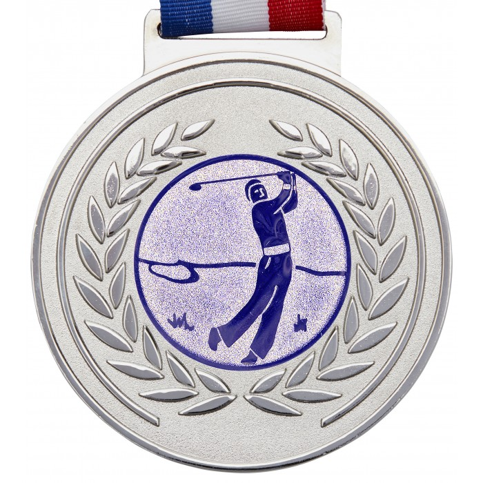 OLYMPIC GOLF MEDAL & RIBBON - 100MM X 6MM THICK -SILVER