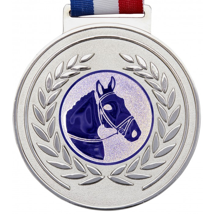 100MM X 6MM THICK OLYMPIC MEDAL & RIBBON - HORSERIDING SILVER