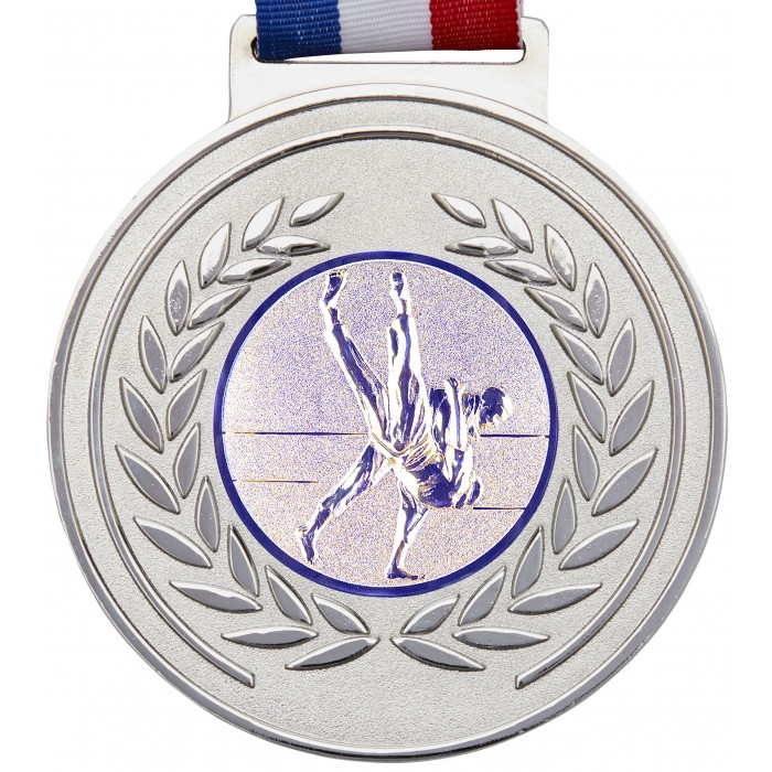 100MM JUDO MEDAL & RIBBON - OLYMPIC SIZE -  SILVER
