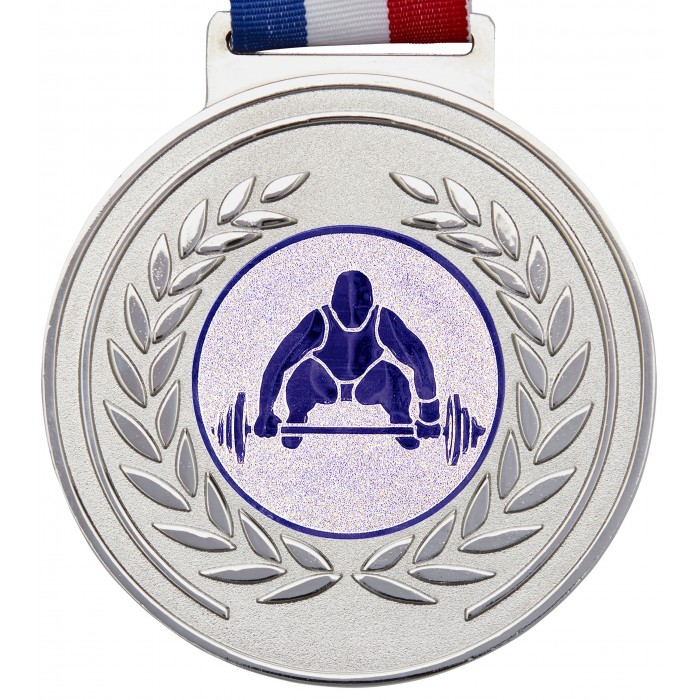 100MM WEIGHTLIFTING MEDAL & RIBBON - OLYMPIC SIZED - SILVER