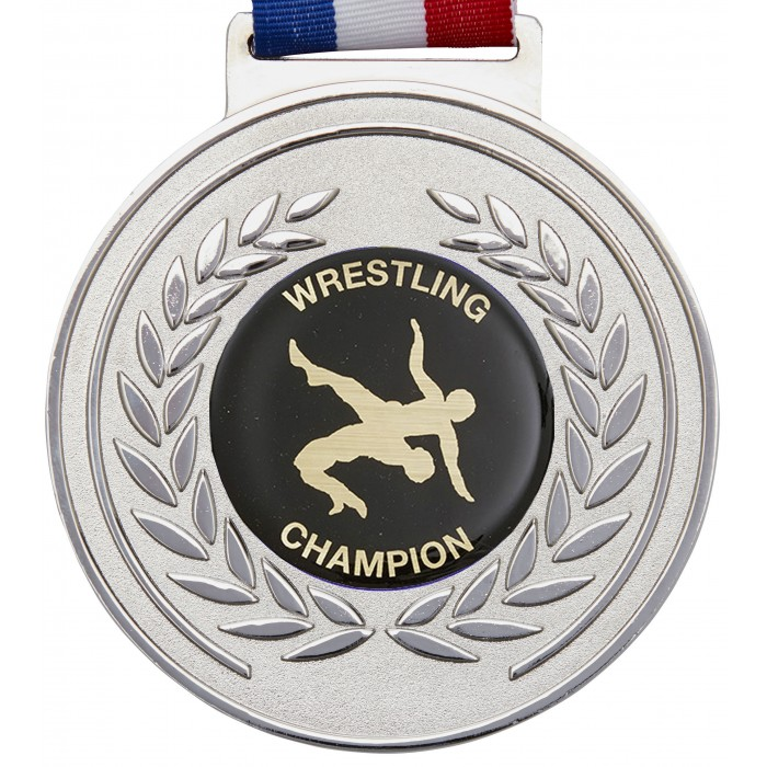 100MM WRESTLING MEDAL & RIBBON - OLYMPIC SIZED - SILVER
