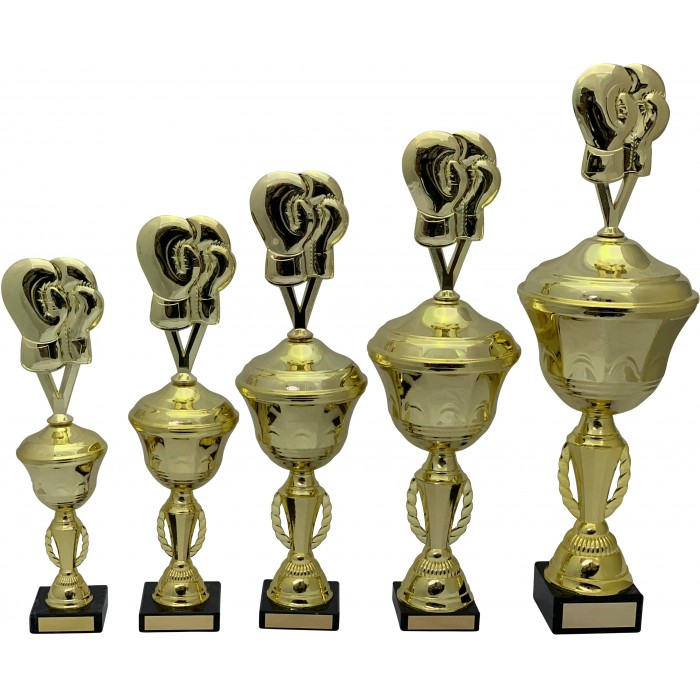 BOXING GLOVES METAL TROPHY  - AVAILABLE IN 5 SIZES