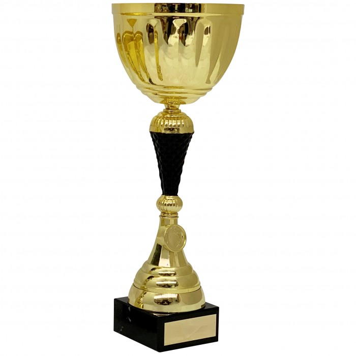 GOLD METAL CUP AND BLACK RISER AVAILABLE IN 4 SIZES