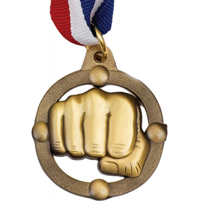 45MM KARATE MEDAL WITH RED/WHITE/BLUE RIBBON