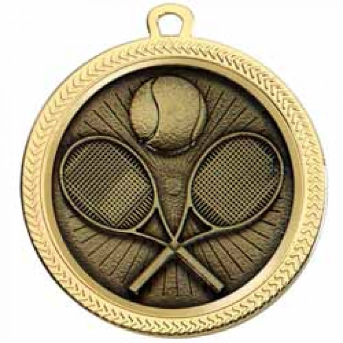 60MM TENNIS MEDAL - (Available in Gold & Silver)