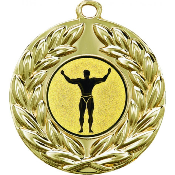 GOLD 50MM BODYBUILDING MEDAL