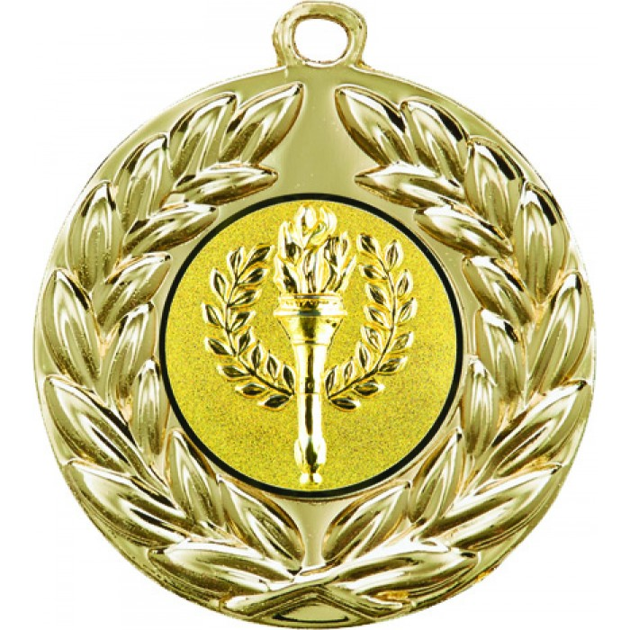 50MM X 2MM THICK MEDAL - CHOOSE YOUR OWN CENTRE - GOLD