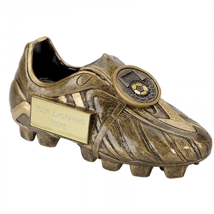 GOLD FOOTBALL BOOT RESIN TROPHY-  2 SIZES