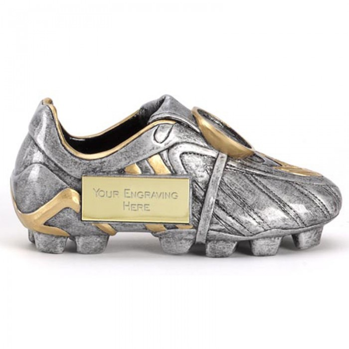 SILVER FOOTBALL BOOT RESIN TROPHY-  3 SIZES