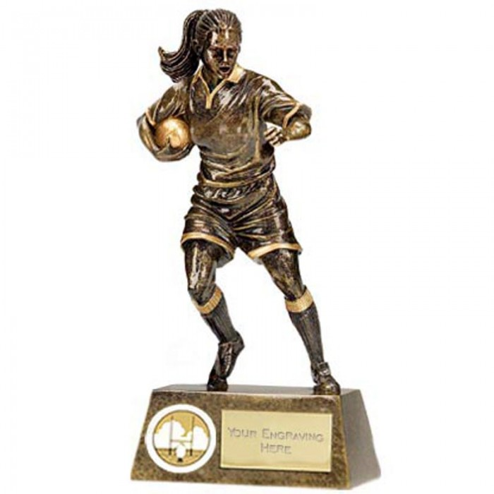 "FEMALE FOOTBALL RESIN  TROPHY - 6""'"