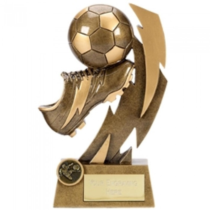 GOLD FLASH FOOTBALL & BOOT RESIN TROPHY - AVAILABLE IN THREE SIZES