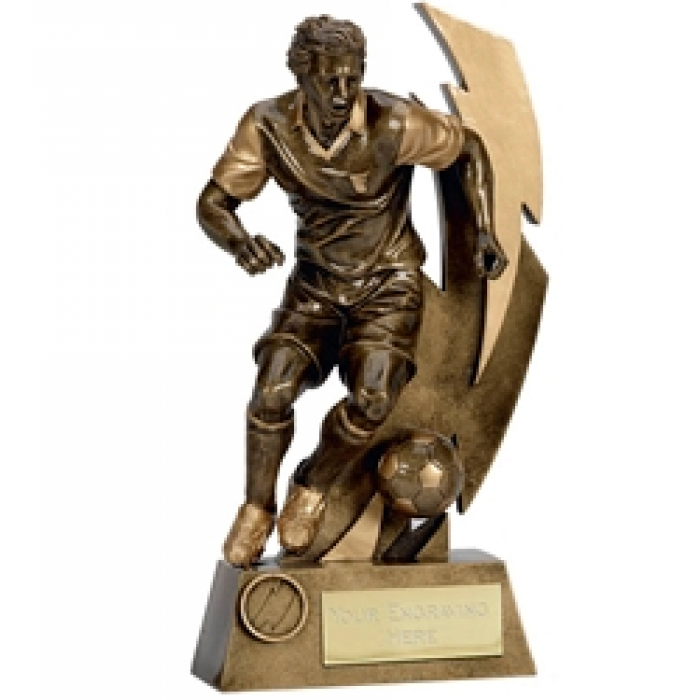 GOLD FLASH FOOTBALL FIGURE RESIN TROPHY 5.75""