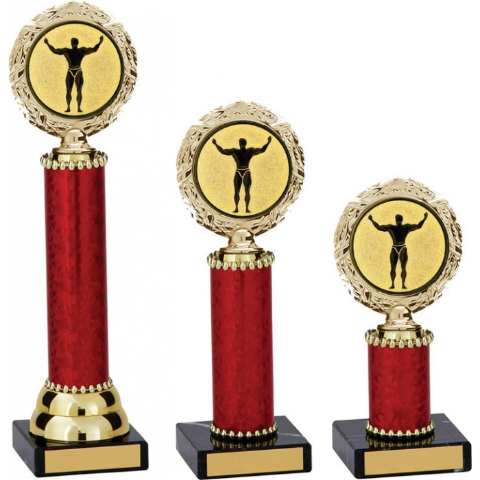 WREATH METAL  BODYBUILDING TROPHY  - AVAILABLE IN 3 SIZES