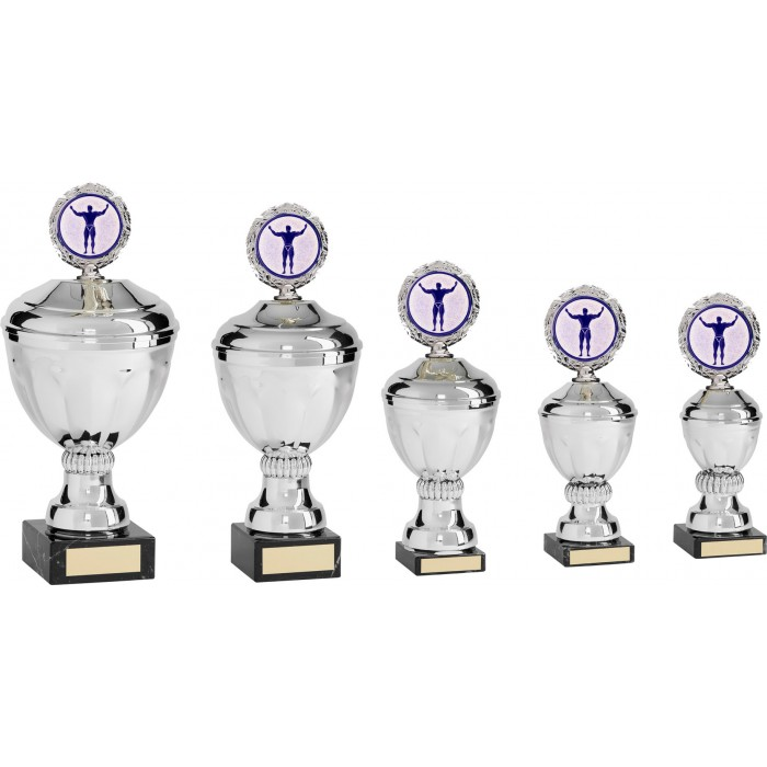 BODYBUILDING METAL TROPHY WITH CHOICE OF SPORTS CENTRE  - AVAILABLE IN 5 SIZES
