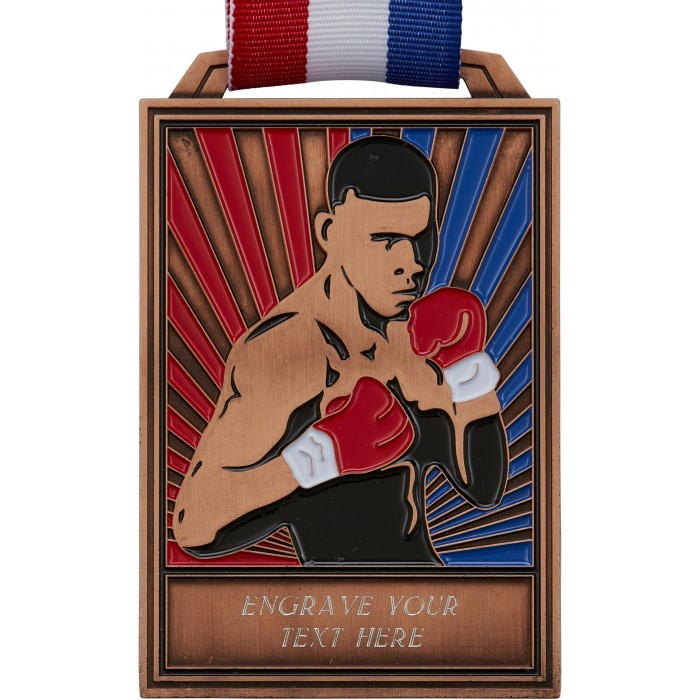 BRONZE 100MM BOXING MEDAL WITH RED/WHITE/BLUE RIBBON