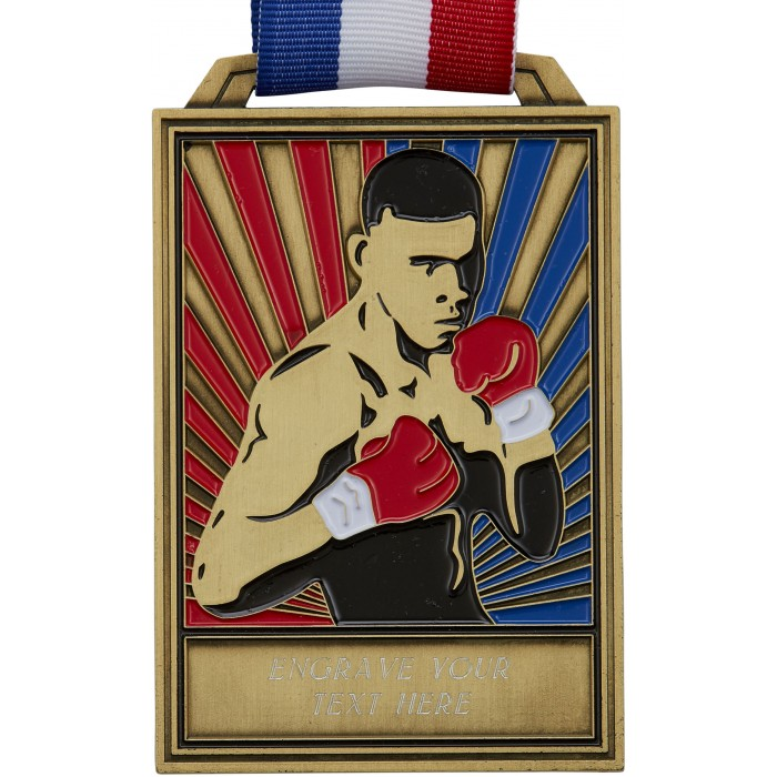 GOLD 100MM BOXING MEDAL WITH RED/WHITE/BLUE RIBBON