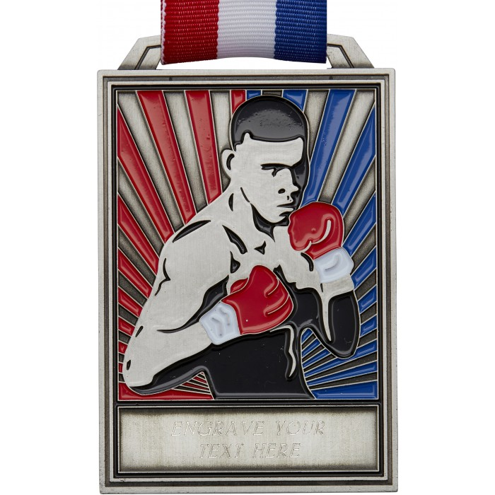 SILVER 100MM BOXING MEDAL WITH RED/WHITE/BLUE RIBBON