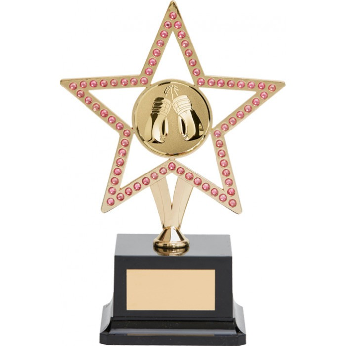 10'' GOLD METAL STAR WITH PINK GEMSTONES - BOXING TROPHY
