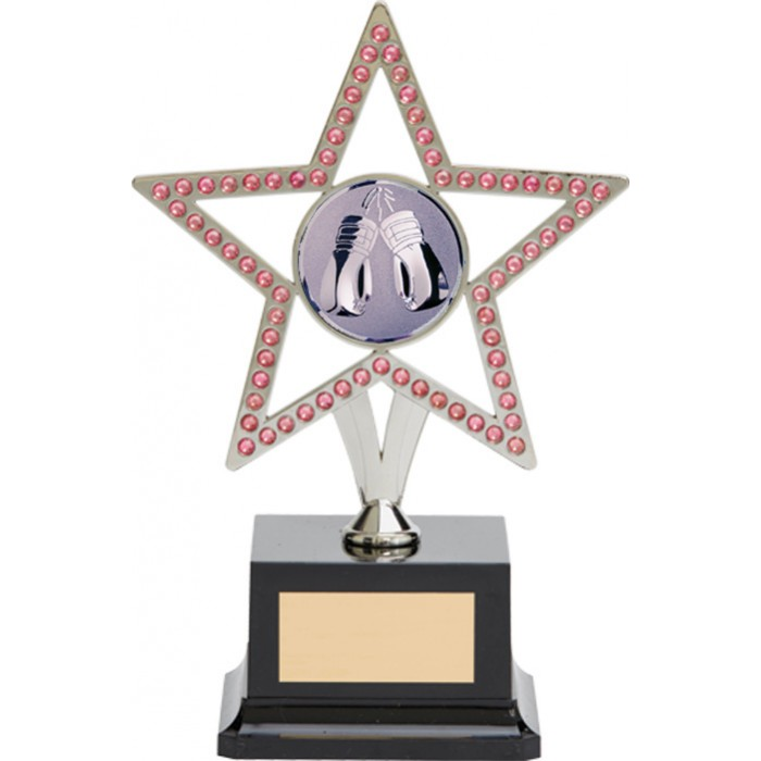 10'' SILVER METAL STAR WITH PINK GEMSTONES - BOXING TROPHY