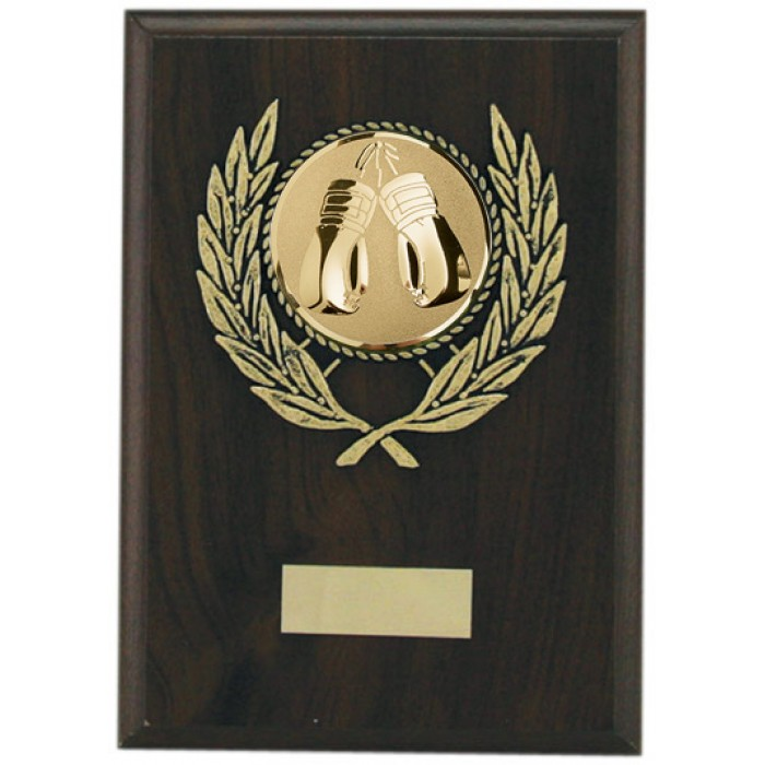 Budget boxing wooden plaque 7'' - choice of sports centre