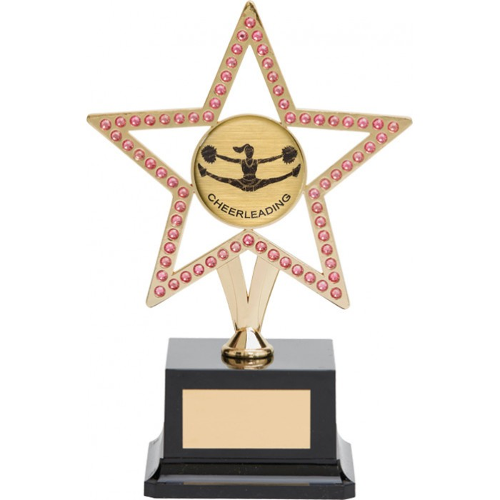 10'' GOLD METAL STAR WITH PINK GEMSTONES - CHOICE OF SPORTS CENTRE