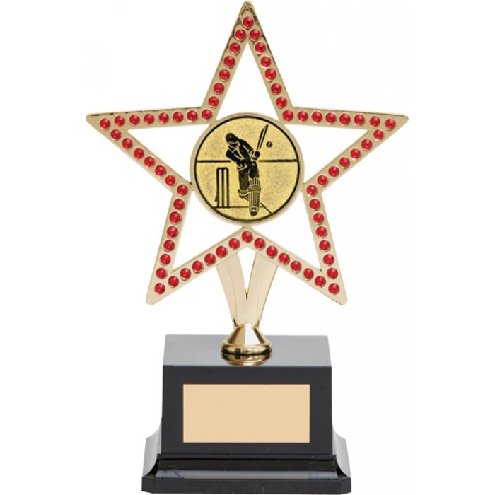 GOLD STAR CRICKET TROPHY - WITH REAL GEMSTONES! AVAILABLE IN 5 COLOURS